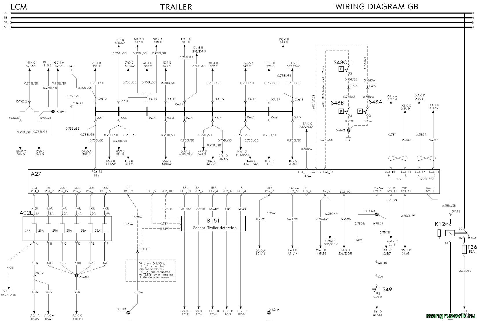 электрическая схема подключения вилки прицепа камаза