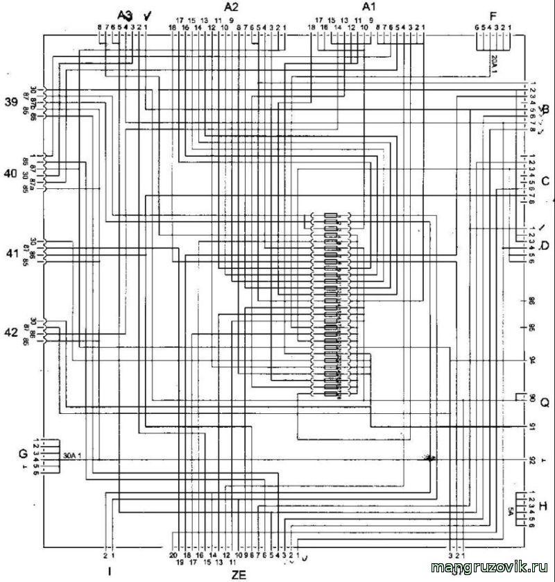 рисунок внутренних коммутаций МОНТАЖНОГО БЛОКА МАН ТГА