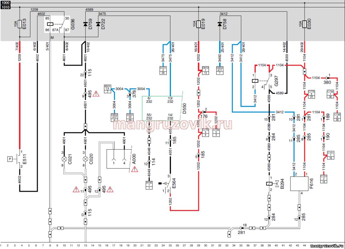 Схема стоп сигнал камаз