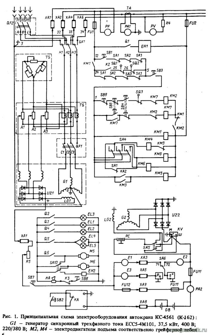 Электрические схемы автокрана к 162